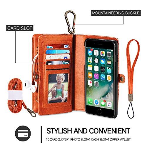 cornmi iPhone 7Plus Case, abnehmbare Geldbörse Phone Cover Case Premium PU Leder 10Kartenfächer mit integriertem Ständer Vintage 2in 1Reißverschluss Handtasche braun braun Orange