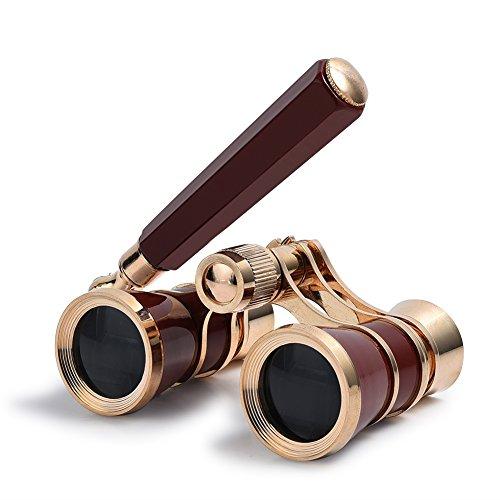 Uarter Fernglas mit ausziehbarem Griff - Mini Binocular 3-fach Vergrößerung Theaterglas Fernglas Opernglas Ferngläser, Pferderennen/ Opera /Theater, 3X25, rand