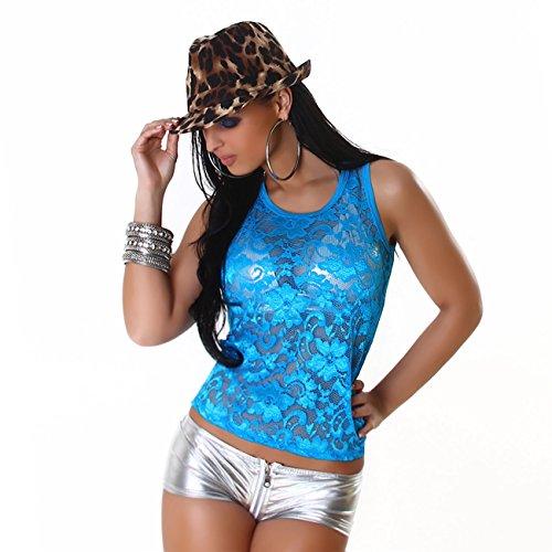 Damen Top Shirt Netzshirt Spitze T-Shirt Tanktop Träger sexy Party Sommer Sport Türkis