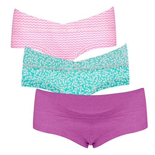Intimate Portal Damen Passt Unter-dem-Babybauch Schwangerschaftsslip Mutterschaft Unterhosen 3er-Pack, L, Blühen (Baumwolle Bikini Volle)