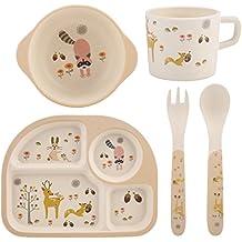 5 Unids/Set Fibra de Bambú Placa de Los Niños Alimento Placa Cuenco Cuchara Tenedor