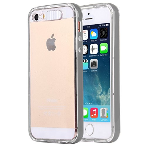 iPhone Case Cover Pour iPhone 5 & 5s & SE Slide Slice Design Plastique Amovible Flamme Transparent TPU Housse de protection avec appel entrant Flash LED clignotant ( Color : Black ) Grey