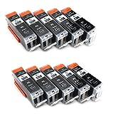 10x Compatible tinta cartuchos reemplazo for CANON PGI-550BK XL negro con CANON Pixma iP7250 MG5450 MG6350 MX725 MX925