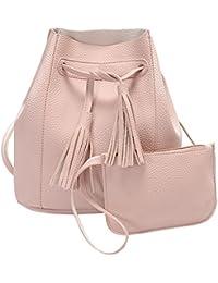 Rrimin New 2 Pcs Fashion Women PU Leather Tassel Barrel Bag Shoulder Crossbody Bag Clutch Bag