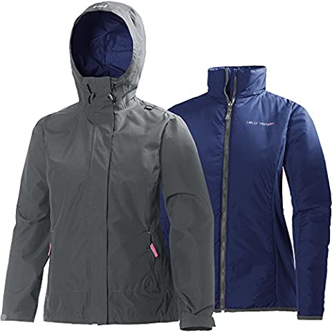 Helly Hansen W Squamish Cis - Chaqueta impermeable 3 en 1 para mujer, color gris, talla XXXL
