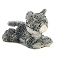 Aurora World Aurora Mini Flopsies,Lily Tabby Soft Toy, 31713, 8in, Gift Idea, Grey, White, Pink