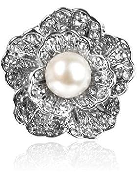 Hochzeit Braut Strass Kristalle Silber solide Blume Künstliche Perlen Brosche