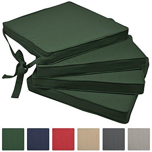 Beautissu cuscini per sedie in set da 4 unità loft sk 45x40x5 cm - comodi e resistenti - con pratico laccio - verde