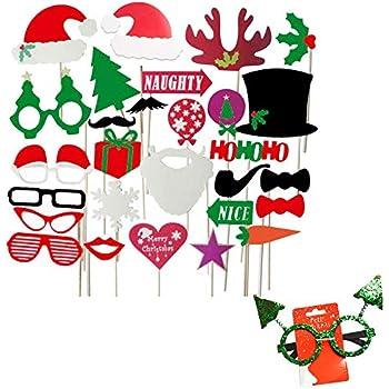 32 pz Photo Booth Natale Foto Props Puntelli Accessori Decorazione Festa Xmas BUONDAC Banner di Carta