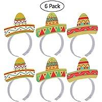BESTOYARD Cinco De Mayo Fiesta Head band Party Colorful Sombrero Headbands Accesorios Fiesta Paquete 6 unids