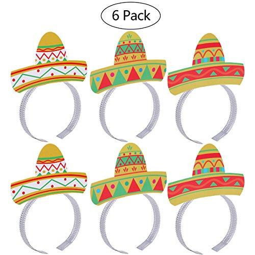 LUOEM Cinco De Mayo Party Hüte Mexikanische Fiesta Party Kostüm Stirnbänder Zubehör 6 STÜCKE