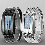 Schöne Uhren, Luxus kleine Art und Weise geführte binäre Armbanduhr mit Datumsanzeige wasserdicht Sport Armbanduhren (verschiedene Farben) ( Farbe : Silber )