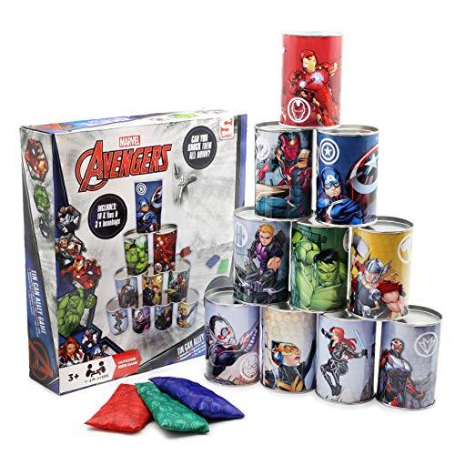Marvel Avengers Juego de Latas y Pelotas | Juguetes de Habilidad y Motricidad para Interior y Exterior | para Niños y Adultos | Regalo para Cumpleaños, Fiestas, Barbacoa | 10 Latas y 3 Bolas