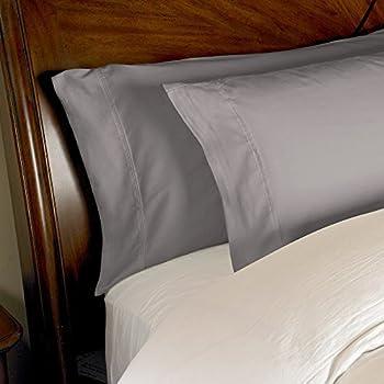 1000fils 2PC Ensemble de taies d'oreiller Coton égyptien par fils, gris, Standard