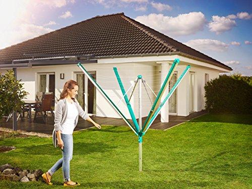 Leifheit Séchoir parapluie Linomatic 600 Deluxe, étendoir parapluie grande surface d'étendage, séchoir à linge solide et résistant – Easy-lift