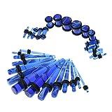 MagiDeal 32 Piezas Medidor Tapón de Túnel para Orejas 14G-0G Expansor de Acrílico Color Azul