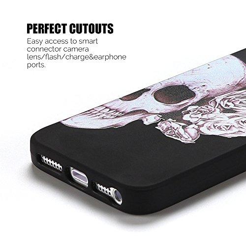 Coque iPhone 5S , Etui iPhone SE TPU Case Silicone Transparente Slim Souple Étui de Protection Flexible Soft Cover avec Motif Spécial Anti Choc Ultra Mince Integrale Couverture Bumper Caoutchouc Gel A Squelette 2