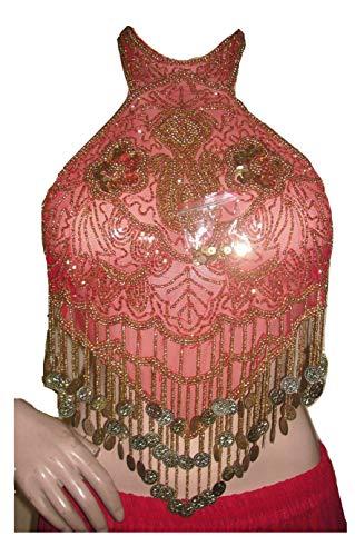 Dancer World Ltd Petite Neckholder Top Bauchtanz Kostüm Sequin Net Mesh Tops (ROTES Gold, UK 12/14)