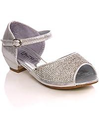 Unze Adornado de tacón bajo los zapatos lindo Corte Girls ' Lilia '