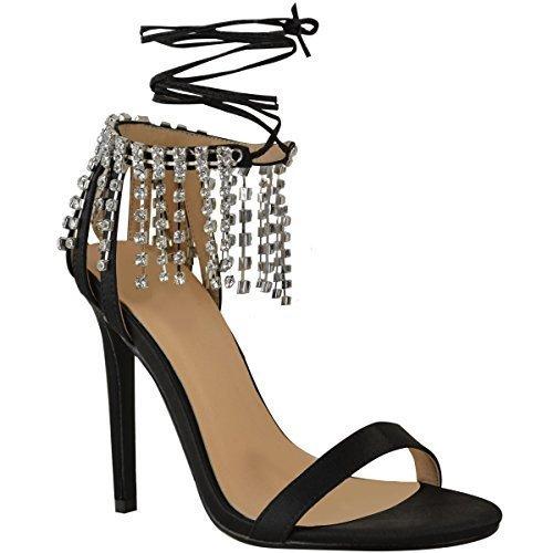 Sandali neri con allacciatura elasticizzata per donna Fashion thirsty XeNlAeDoCF