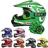 Leopard LEO-X17 Casco da Motocross per Bambini e Occhiali e Guanti da Motocross per Bambini - Verde L (53-54cm) - Cross e off-Road Motocicletta ATV Quadrilatero ECE 22-05 Approvato