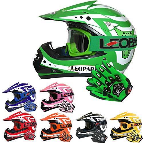 Leopard LEO-X17 Casco da Motocross per Bambini e Occhiali e Guanti da Motocross per Bambini - Verde M (51-52cm) - Cross e off-Road Motocicletta ATV Quadrilatero ECE 22-05 Approvato