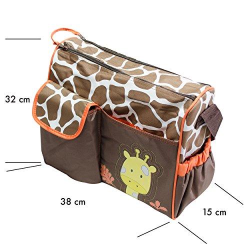 Wickeltasche mit Giraffen-Muster, braun - 5