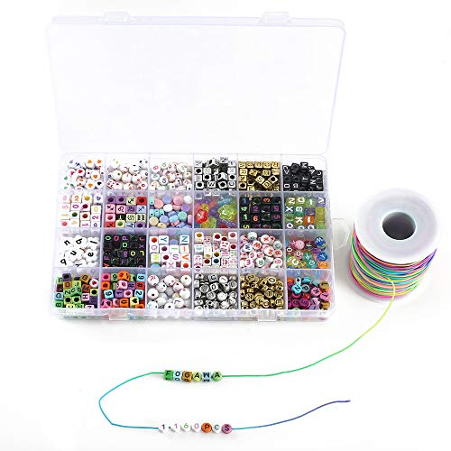 Fogawa 1160 pezzi perline lettere braccialetti in acrilico perline alfabeto numeri simboli colorati kit perline per braccialetti collana bambini puzzle fai da te con 1 rotolo filo elastico colorati