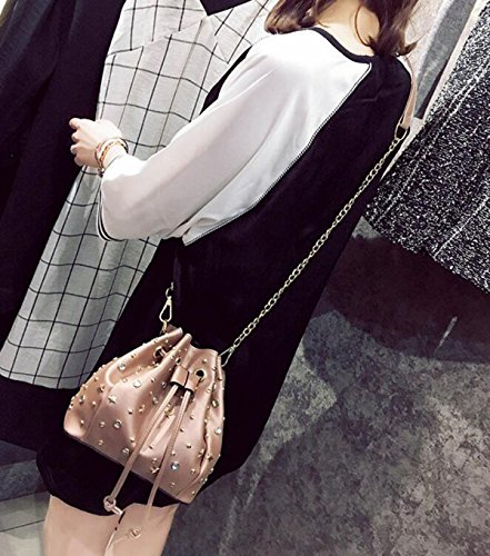 QPALZM Frauen Schulter PU Leder Mode Tasche Quasten Niet Mit Einem Eimer Paket Handtaschen Pink