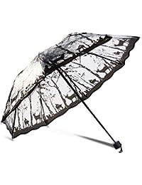 WJYZ Paraguas 8 Costillas Plegables Sombrillas Transparentes para Mujer Paraguas De Lluvia Transparente Impresa Sombrilla Exterior