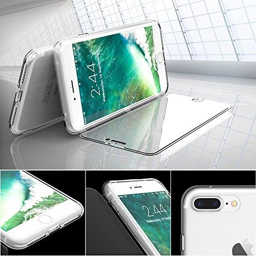 Coque iPhone 6 Plus/6s Plus, FLOVEME 360° Protection avec Rabat Tactile Housse Transparent en Silicone Souple Appel Sans Ouvrir le Clapet Anti-Rayures pour iPhone 6 Plus/6s Plus 5.5 Pouces Noir Violet