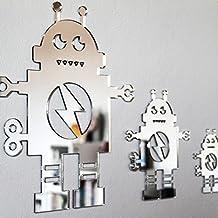 Walplus - Figuras decorativas de robots para pared, color plateado