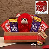 TIED RIBBONS Valentine Day Gift for Wife Girlfriend Girls - Message Bottle Gift - Romantic Gift Pack (Teddy Soft Toy , Message Bottle Gift, Dairy Milk and Kitkat Chocolates with Gift Box)