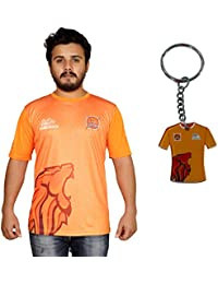 Puneri Paltan Unisex Polyester Printed Half Sleeves T-Shirt with Keychain - Orange