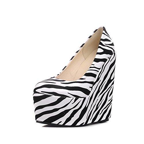 Senhoras Allhqfashion Pu Couro Salto Alto Rodada Toe Cor Misturada Puxar Bombas Sapatos Brancos