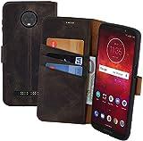 Suncase Book-Style Echt Leder Tasche für Motorola Moto Z3 Play Schutzhülle (Slim-Fit) Wallet Case Hülle (mit Standfunktion und Kartenfach - Bruchfester Innenschale) in Antik-Braun