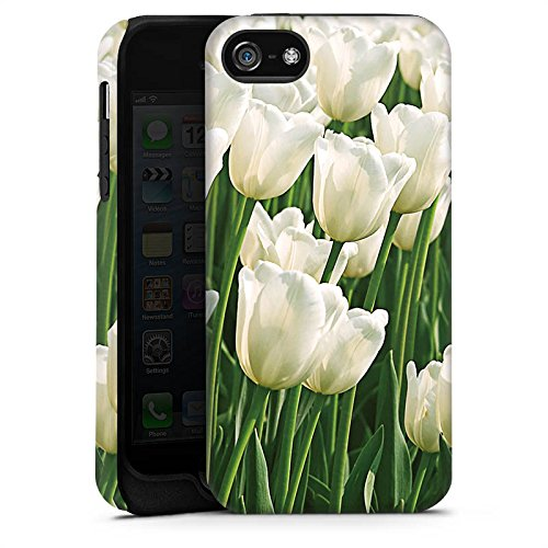 Apple iPhone 5s Housse Étui Protection Coque Tulipes Fleurs Fleurs Cas Tough terne
