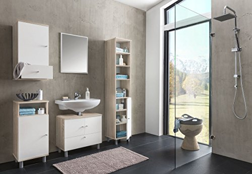 l Set 'Frio II' Sonoma EicheHolz günstig 5-teilig Badezimmer Waschbeckenunterschrank Spiegel Hochschrank Hängeschrank Kommode ()