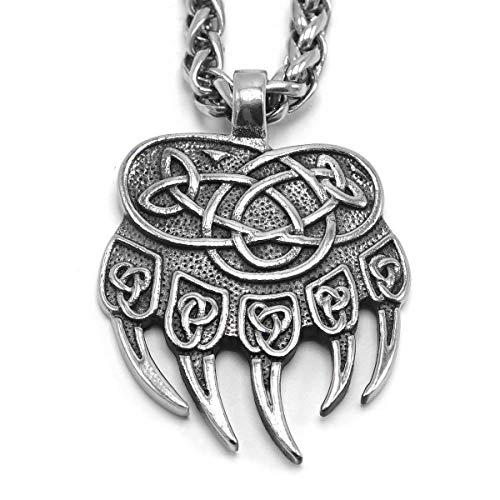 ENXICO Collar con Colgante de Pata de Oso con Nudo Celta ♦ Acero Inoxidable 316L ♦ Joyería nórdica escandinava vikinga
