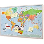 Pinnwand Weltkarte 90x60cm - Memotafel mit Cork & 20 Markierfähnchen XXL