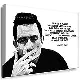 Leinwand Bilder Julia-Art I BildJohnny Cash Porträt Zitat ( Quotes ) Schwarz-Weiß SW07 Kunstdruck 101 x 71 cm + XXL Wandbild mit Keilrahmen Fertigbild