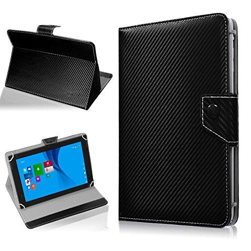 NAUC Tablet Hülle für TrekStor SurfTab Twin 10.1 Tasche Schutzhülle Cover Case Carbon, Farben:Schwarz