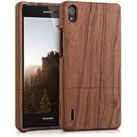 kwmobile Funda para Huawei Ascend P7 - Case protectora de madera madera de cerezo - Carcasa dura marrón claro