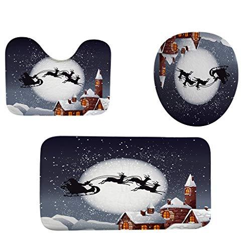 Myspace 2019 Dekoration für Christmas 3 Stücke Weihnachtsferien Mat Duschvorhang Bad Matte Rutschfeste Teppich Teppich Wc Sitz Dreiteilige Abdeckmatte Set