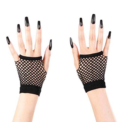 Fingerlose Handschuhe Netzhandschuhe schwarz Hexenhandschuhe Gothic Handschuhe ohne Finger Netz Handschuhe fingerlos Punk (Zubehör Punk)