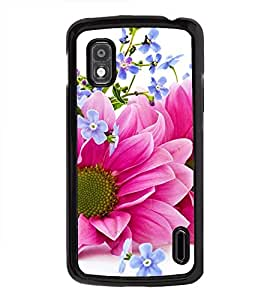Fuson Premium 2D Back Case Cover Pink floral With Yellow Background Degined For LG Google Nexus 4