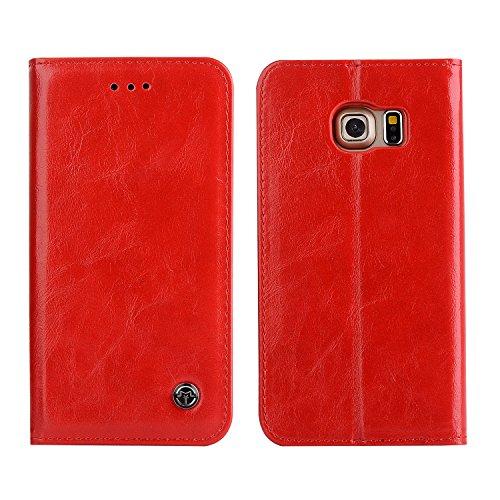 Samsung S6 Edge Hülle,Alfort Samsung S6 Edge Schutzhülle, Simulations Retro Flip Wallet Lederhülle PU Leder Tasche Case Cover für Samsung S6 Edge Smartphone (rot)