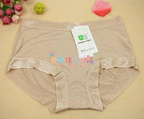 Unterhosen Unterwäsche Bambusfaser Damen Taille Traceless Luftdurchlässig Schriftsatz, Wassermelone rot Greatlpk Apricot