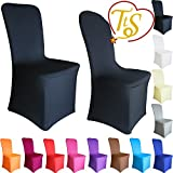 TtS Chair Covers Spandex Lycra Universal Slipcovers Dining Chair Cover Wedding Banquet Party Flat Front - Black