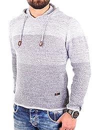 Reslad Strickpullover Herren Colorblock Kapuzen-Pullover Hoodie RS-3108